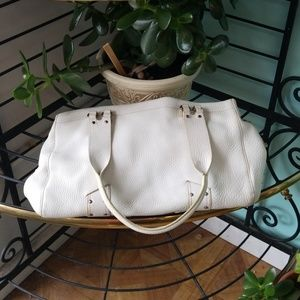 Cole haan white pebble leather hand bag
